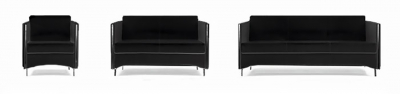 Büro Sofa Sidney Office Sofa black 3-Teilig
