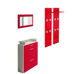 Wardrobe, Shoe cabinet and mirror in red high gloss
