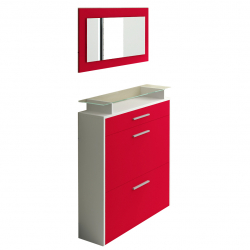 Shoe Cabinet in red high gloss
