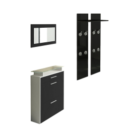 Wardrobe, Shoe cabinet and Mirror in black high gloss