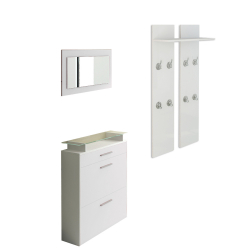 Wardrobe, Shoe cabinet and Mirror in white high gloss